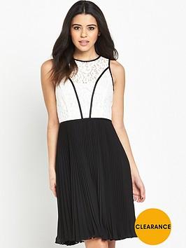 wallis-mono-lace-top-pleat-dress