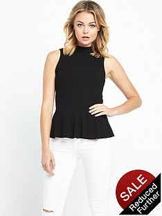 miss-selfridge-sleeveless-rib-peplumnbsptopnbsp