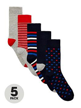 v-by-very-5-pack-spot-and-stripe-pattern-socks