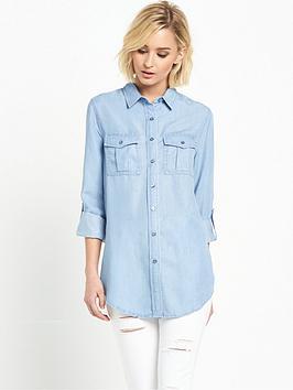 miss-selfridge-tencel-roll-sleeve-bleachwash-shirt