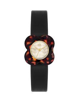 orla-kiely-orla-kiely-poppy-black-leather-strap-ladies-watch