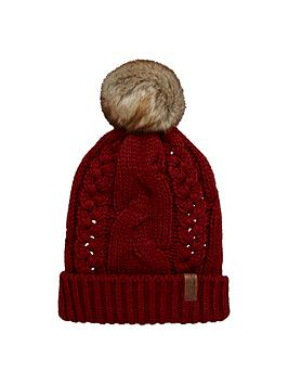 superdry-cable-knit-bobble-beanie-rust