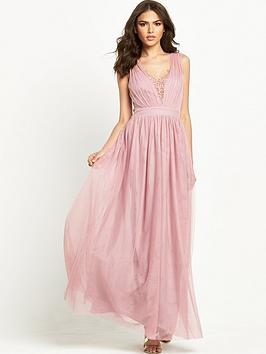 little-mistress-embellished-pleated-mesh-maxi-dress-rose