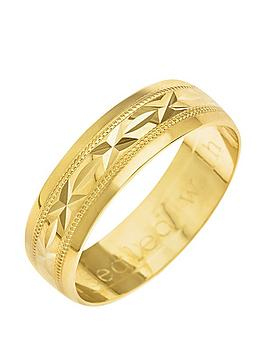 love-gold-9ct-yellow-gold-diamond-cut-6mm-wedding-band-with-message-039sealed-with-a-kiss039