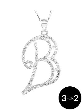 the-love-silver-collection-sterling-silver-cubic-zirconia-large-scroll-initial-pendant