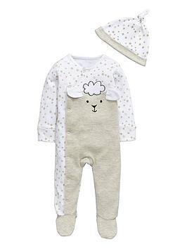 ladybird-baby-unisex-sheep-sleepsuit-and-hat-set
