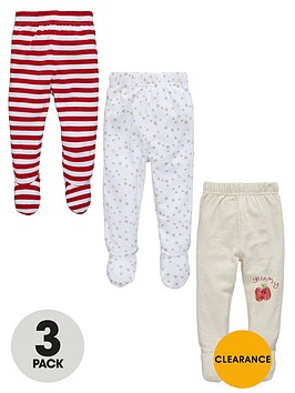ladybird-unisex-babynbspstripe-and-star-footed-leggings-3-pack
