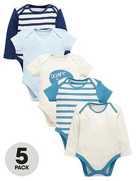 ladybird-baby-boys-stripe-and-slogan-bodysuits-5-pack
