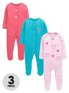 ladybird-baby-girls-cloud-and-kitten-motif-sleepsuitsnbsp3-pack