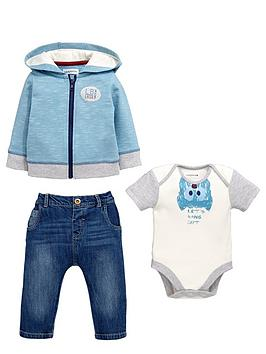 ladybird-babynbspboys-bat-bodysuit-stripe-hoodie-and-jeans-set-3-piece