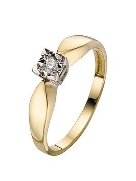 love-diamond-9-carat-yellow-gold-5pt-diamond-illusion-set-solitaire-ring