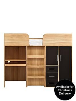 kidspace-ohio-high-sleeper-bed-desk-drawers-and-wardrobe-black-pink
