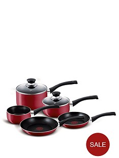 tefal-5-piece-aluminum-bistro-pan-set-red