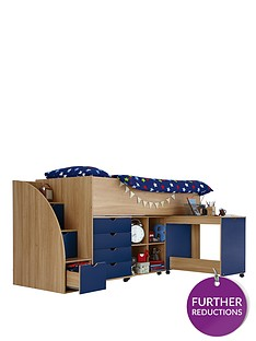 kidspace-milo-mid-sleeper-kids-bed-frame-with-storage-steps
