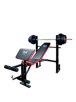 Everlast Weight Bench With 36kg Vinyl Barbell Set