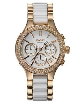 dkny-chambers-rose-gold-and-white-ceramic-chronograph-ladies-watch