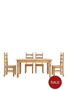 corona-140-cm-solid-pine-dining-table-4-chairs