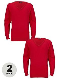 top-class-unisex-school-v-neck-knitted-jumpers-2-pack