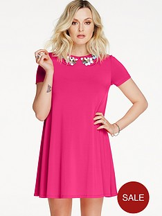 fearne-cotton-embellished-neck-swing-dress