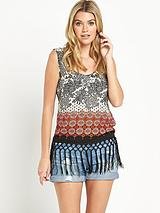 Mixed Tile Printed Fringe Vest