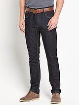 Mens Belted Slim Fit Indigo Jeans