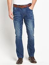 Mens Belted Slim Fit Mid Blue Wash Jeans