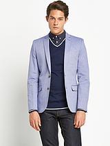 Mens Slim Fit Oxford Jacket - Blue