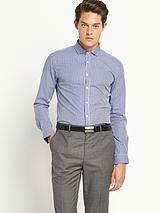 Mens Micro Gingham Check Shirt - Navy