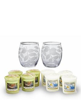 yankee-candle-2-etched-leaves-votive-holders-with-8-votives