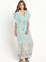 Printed Batwing Woven Beach Maxi Dress