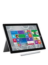 Surface Pro 3 Intel® Core™ i5 Processor, 8Gb RAM, 256Gb Solid State Drive, Wi-Fi, 12 inch Tablet and Optional Microsoft Office Personal and Black Type Cover - Grey