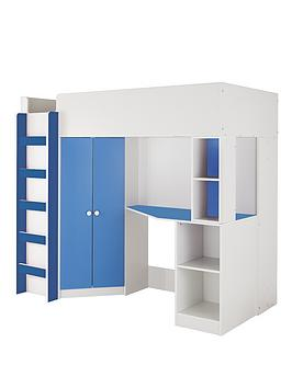 kidspace-new-metro-high-sleeper-bed-with-desk-wardrobe-and-shelves-optional-mattress