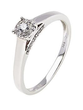 love-diamond-9-carat-white-gold-20-point-diamond-centre-cluster-ring-with-diamond-set-bridge