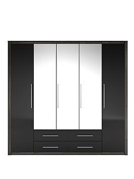 albany-5-door-4-drawer-mirrored-wardrobe