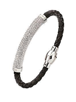 folli-follie-dazzling-crystal-set-silver-plated-and-black-pu-bracelet