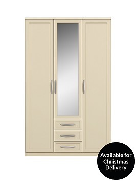 oslo-3-door-3-drawer-mirrored-wardrobe