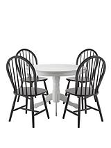 Kentucky White Dining Table with 4 Black Chairs
