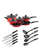 6-Piece Pan Set with 10-Piece Tool Set - Red