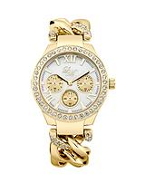 Mother of Pearl Dial Stone Set Yellow Gold Tone Chain Link Bracelet Ladies Watch