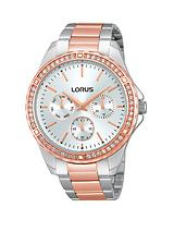 Two Tone Crystal Set Stainless Steel Ladies Watch