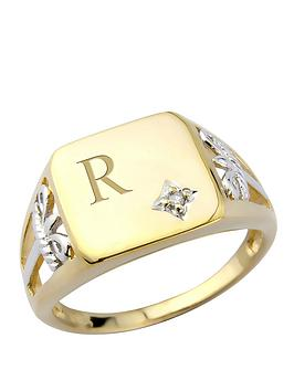 keepsafe-silver-and-9-carat-yellow-gold-plate-and-diamond-mens-personalised-signet-ring