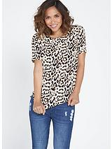 Leopard Print Scallop Blouse