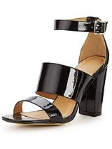 Peony Block Heel Wide Strap Sandals - Black