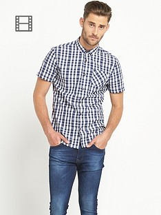 goodsouls-mens-short-sleeve-check-shirt-blue