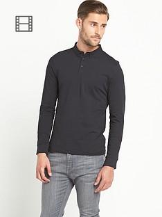 goodsouls-mens-long-sleeve-jersey-polo-top-black