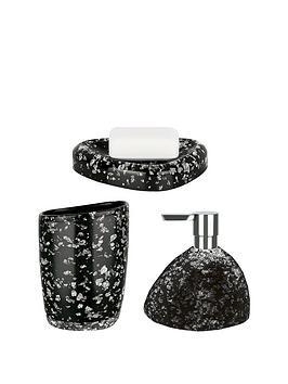 Spirella Etna Set Of 3 Glitter Black Bathroom Accessories Littlewoodsirelan
