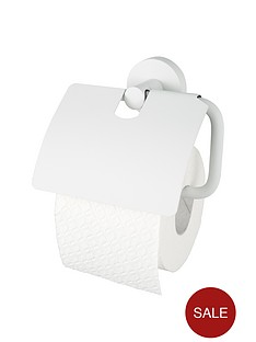 aqualux-haceka-kosmos-toilet-roll-holder-with-lid-white