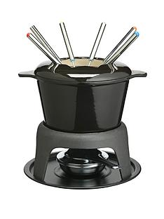 master-class-cast-iron-enamelled-fondue-set-black