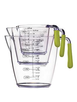 colourworks-3-piece-acrylic-measuring-jug-set-green