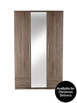 cologne-3-door-2-drawer-mirrored-wardrobe